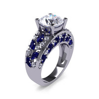 Modern Italian 14K White Gold 3.0 Ct White Sapphire Diamond Marquise Blue Sapphire Engagement Ring Wedding Ring R614-14KWGDBSWS