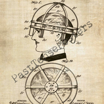 Bicycle Helmet Patent Print - Patent Poster - Velocipede - Bike Patent - Faux Vintage