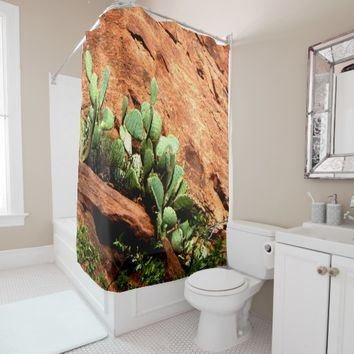 Hanging Cactus Garden on Red Rocks Shower Curtain