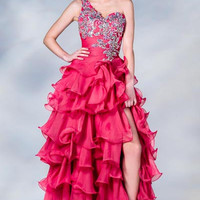 PRIMA C137699 One Shoulder Hot Pink Prom Dress