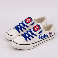 Cool 2018 men women unisex white Chicago fashion diy Shoes for cubs fans gift Low Top Lace Shoes Drop Shipping