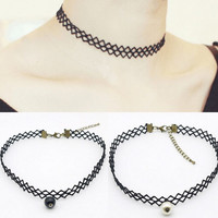 New Womens Retro Blace Lace Choker Adjustable Necklace + Gift Box