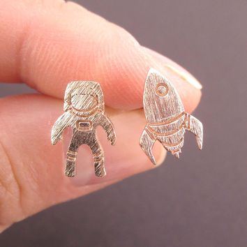 Spaceship and Astronaut Space Travel Themed Stud Earrings in Rose Gold