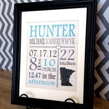 Burlap Baby Print , Color Baby Boy Birth Stats Burlap Subway Art , Burlap Print of Baby Birth Information , Burlap Sign , Baby Burlap Sign