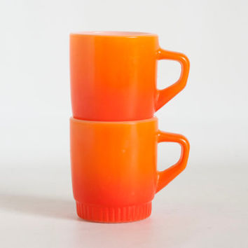 Vintage Fire King Stacking Mugs, Orange Ombre Coffee Cups, Anchor Hocking Glass 1970s, Made in USA