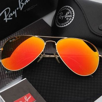 ESBONQK Ray Ban Aviator Sunglasses Orange Flash/Gold Frame RB3025 112/68F 58mm