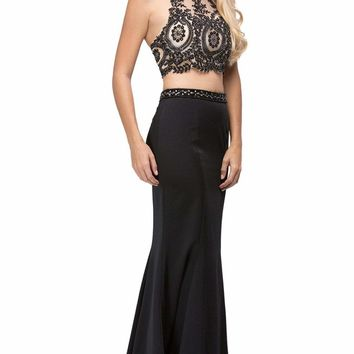 Dancing Queen - 9670 Two-Piece Lace Applique Bodice Prom Dress