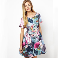 Midnight Electric Floral Dress