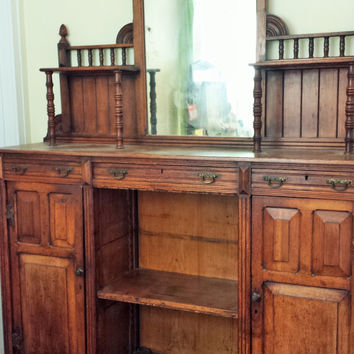 Antique Victorian Sideboard / Victorian Buffet / Late 1800s Furniture / Vintage Sideboard