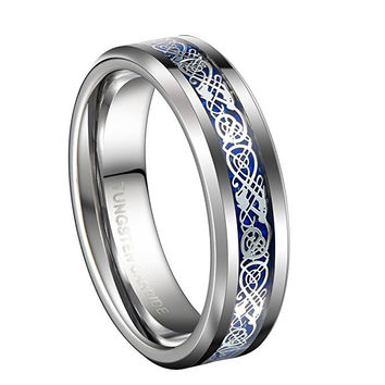 6mm Tungsten Carbide Wedding Band Blue Silver Celtic Dragon Inlay Polished Ring