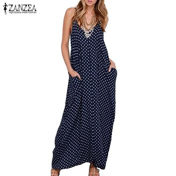 ZANZEA 2017 Summer Dress Women Dress Strapless Polka Dot Loose Long Maxi Dress Beachwear Casual Vestidos Plus Size XS-4XL