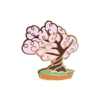 Cherry Blossom Bonsai Tree Enamel Pin, Plant Lapel Pin // Hard Enamel Pin, Cloisonné, Pin Badge, Sakura