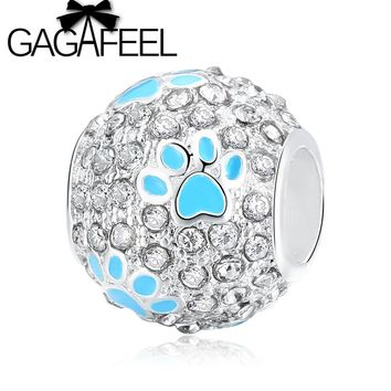 GAGAFEEL Clear Crystal Footprint Bead Fit Pandora Necklace Bracelet DIY Cute Paw Ball Charm Beads For Jewelry Making Women