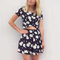 Floral Two Piece Matching Set in Black by Little By Little