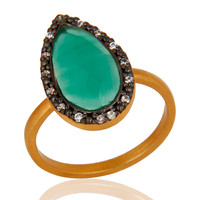Beautiful Handmade Green Onyx Gemstone Sterling Silver Ring With 22K Gold Plated