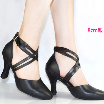 new 2017 women shoe in leather dance shoes black close toe women latin salsa shoes high ballroom shoes for ladies 6401
