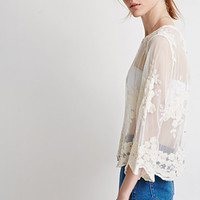 Floral-Embroidered Mesh Top