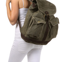 Canvas Multi-Pocket Rucksack Backpack with Leather Strap