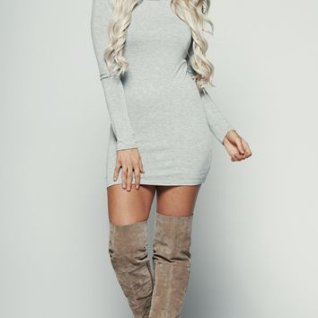 Text Me Later Bodycon (Heather Grey)