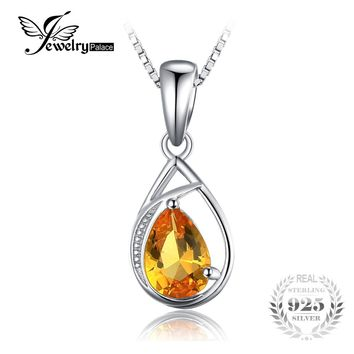 JewelryPalace Elegant 0.96ct Pear Cut Created Orange Sapphire Women Pendant 925 Sterling Silver Fine Jewelry Not Include A Chain