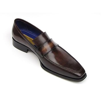 Paul Parkman Men's Loafer Bronze Hand Painted Leather Shoes (Id#012)