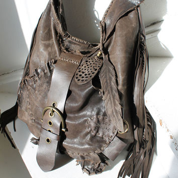 Dark  brown distressed leather hobo oversized raw edge bag fringe long fringes asymmetrical  tribal bohemian western boho raw edge unique