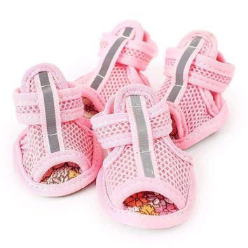 New Hot Purchase Casual Anti-Slip Small Dog Footwear For Cute Pet Footwear summer time Breathable Soft Mesh Sandals Chocolate Colors 5 Sizes