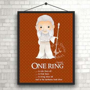 One Ring | Gandalf | Art Print | Home Decor Print | Printable Quote | Typography | The Lord of the rings | J.R.R. Tolkien