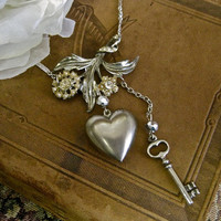 Love Blossoms: Vintage Assemblage Necklace Romantic Flowers Key to Heart Boho Vintage Wedding Bride One of a Kind ooak