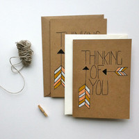 Thinking of You Arrow Themed Card w/ Pastel Colors. Illustrated by Hand on Kraft Brown Card w/ Blank Interior, Great for any occassion