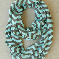 Chocolate & Mint Chevron Circle Scarf [4526] - $18.90 : Vintage Inspired Clothing & Affordable Dresses, deloom | Modern. Vintage. Crafted.