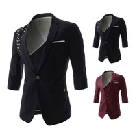 Metal Studded New Design Men's Short Sleeve Blazer