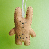 plush bunny ornament - je t'aime funny bunny - french decorations or Christmas tree decor