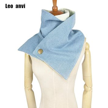 leo anvi brand Black white Infinity button scarf - neck warm with white nautical buttons mens cowl, unisex infinity scarf