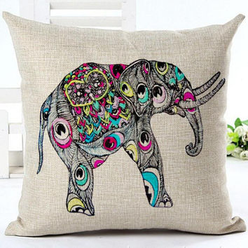 Peacock Eye African Elephant Digital Printed Linen Throw Pillow Cover