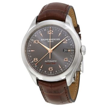 Baume and Mercier Clifton Grey Dial Brown Alligator Leather Mens Watch M0A10111