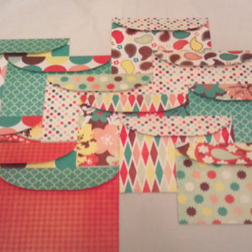 Handmade 5x7 Envelopes Set of 12 Retro Paisley - Scrapbook Paper Designs