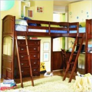 Lea Deer Run L-Shaped Wood Bi-Loft Bunk Bed Set in Brown Cherry Finish