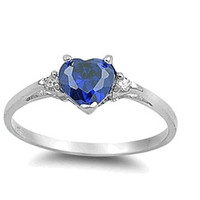 Sterling Silver Sapphire Blue Heart Ring with Heart-Shaped Gift-Box