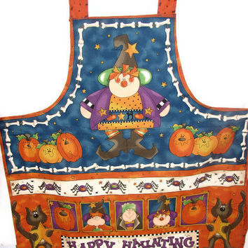 Halloween Full Apron - Witches, Pumpkins - Happy Haunting OOAK