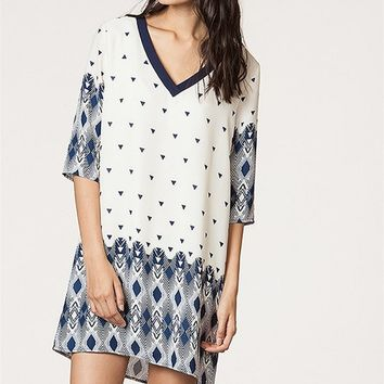 V-neck Geometry Shift Dress