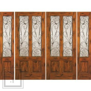 Prehung Double Door with Two Sidelites, Entry, Alder Twin Lite