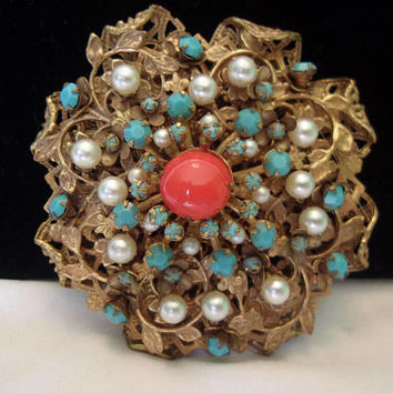 Eugene Large Coral Turquoise & Pearl Gold Plate Vintage Flower Brooch Pin