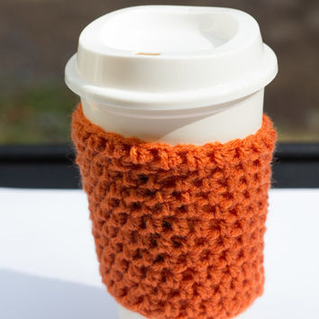 Pumpkin Orange crochet cup cozy, crochet mug cozy, coffee mug cover, coffee sleeves, Christmas, crochet cozy, crochet mug cozy,mug cozy
