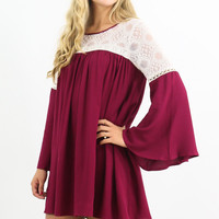 Head In The Clouds Wine Bell Sleeve Dress With Keyhole Back & Lace Detail