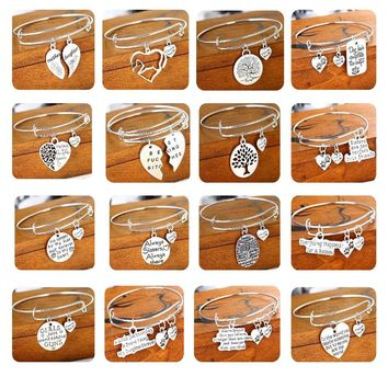 Paws Heart Tags Tree Horse Pendant Charm Bracelets For Women Men Bangle Jewelry Silver Plated Chain Bracelet Best Friend Gifts