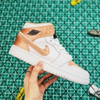 Air Jordan 1 Low Gs White/ Rose Gold Sneakers - Best Online Sale