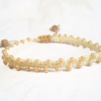 Beaded Macrame Bracelet Cream Macrame Bracelet Stackable Bracelet