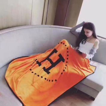 CREYV9O Hermes Fashion Conditioning Throw Blanket Quilt For Bedroom Living Rooms Sofa Warm Flannel Orange G