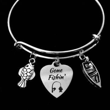 Gone Fishin Expandable Silver Charm Bracelet Fishing Boat Fish Adjustable Wire Bangle Lake Jewelry One Size Fits All Gift
